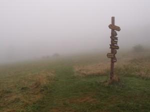 Markierung im Nebel